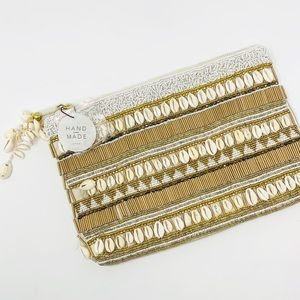 Zara Envelop Clutch with Shells and Beading